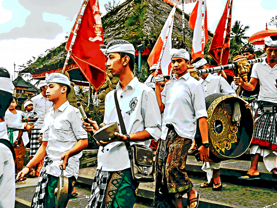 Indonesian men marching