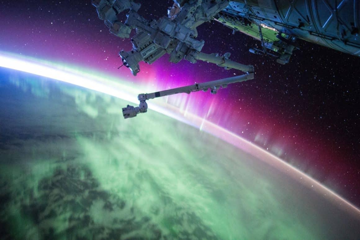 Aurora borealis, space, orbit, blockchain