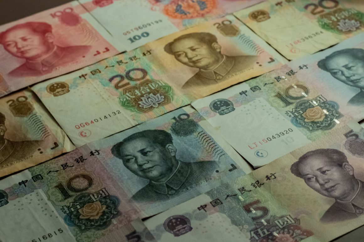 RMB bills laid out on table
