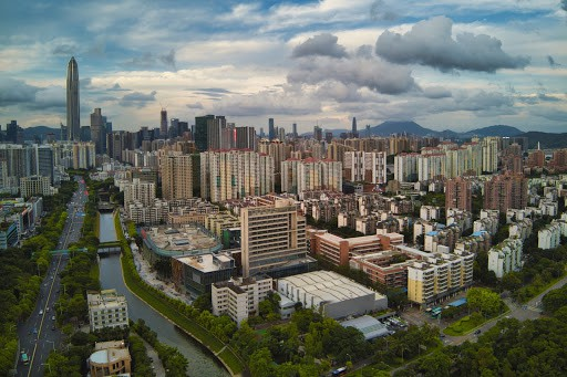 Aerial drone shot of Shenzhen
