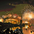 New Years Day fireworks in Sydney Harbor Bridge