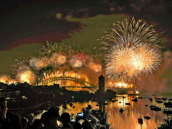 New Years Day fireworks in Sydney Harbor Bridge