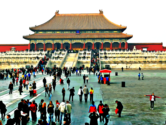 Picture of tourists in visiting the Forbidden City palace in Beijing, China.