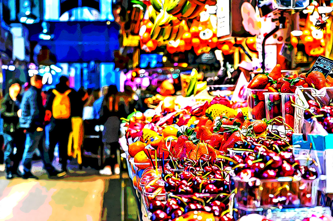 Fruits displayed in modern market place
