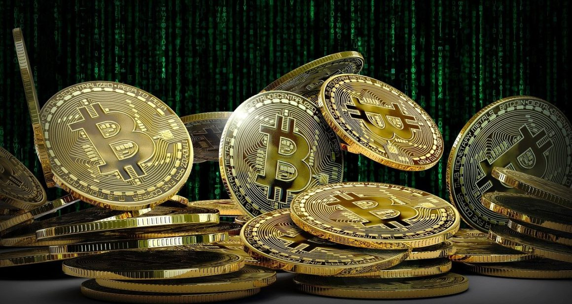 Bitcoins with coded background