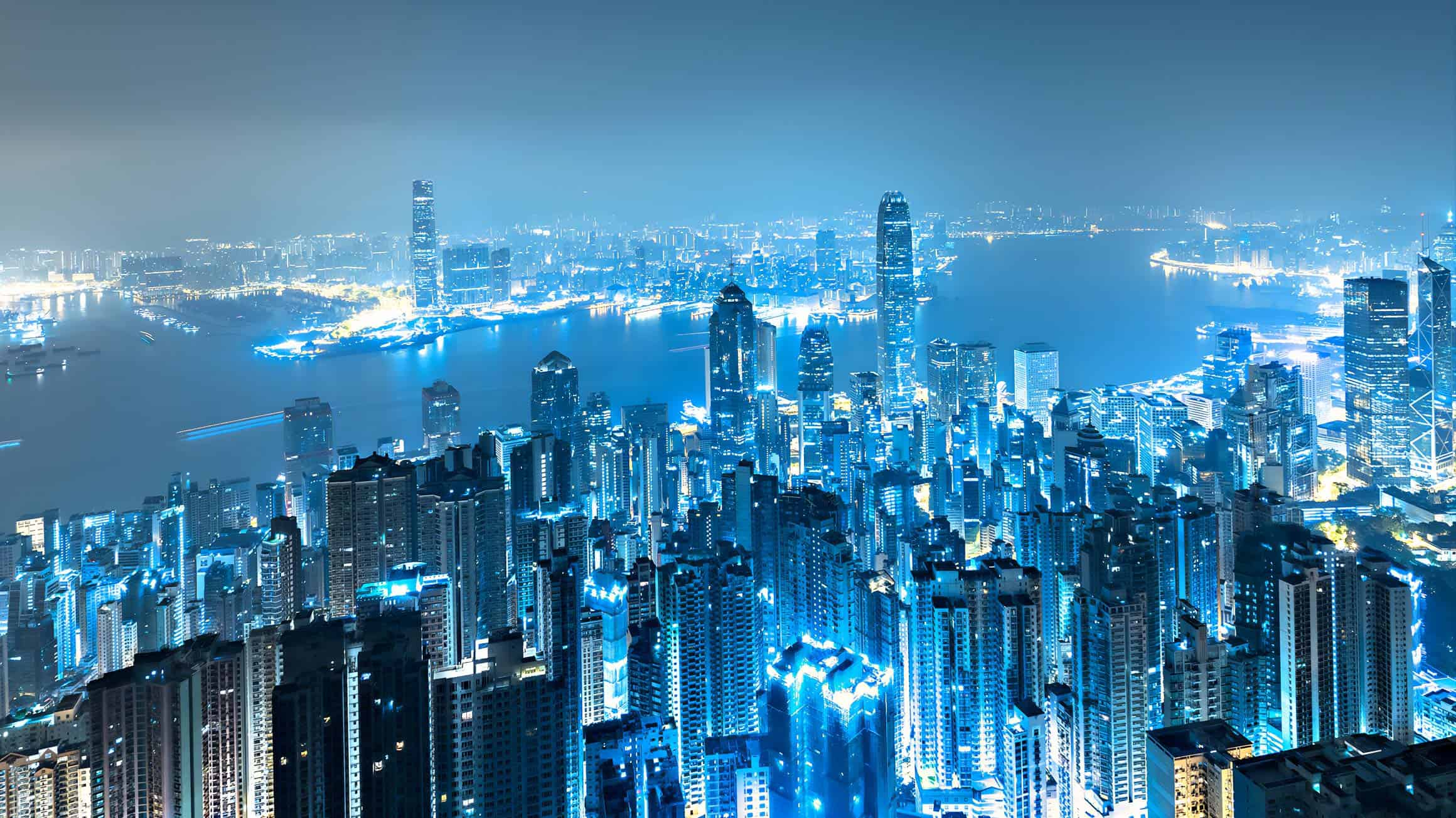 view of Hong Kong skyline by night