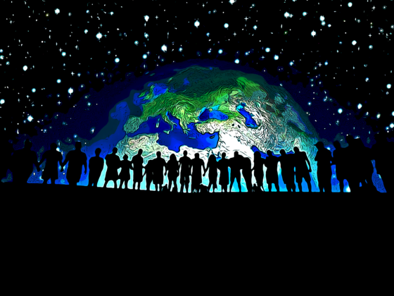 Sillhouette of people holding hand in front of the Earth