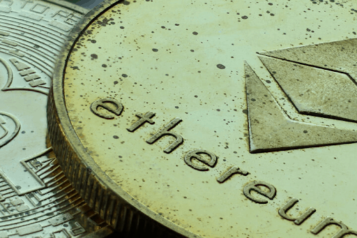 Close up of a model ethereum coin