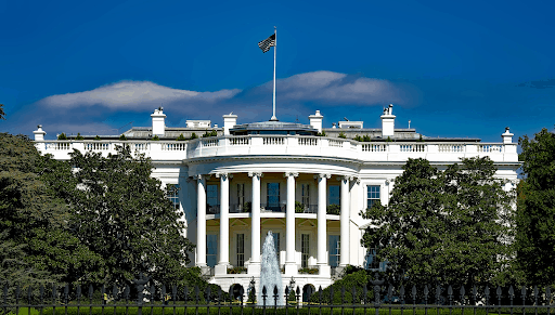 A frontal view of the White House