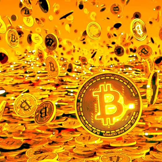 Visualization of raining bitcoins
