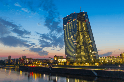 Weitwinkelaufnahme des Hauptquartiers der Europäischen Zentralbank