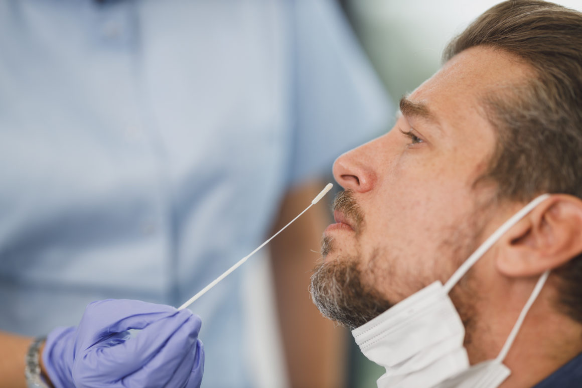 Man gets a nasal swab test