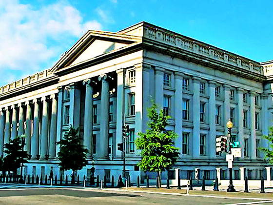 Wide shot of the United States Treasury Building