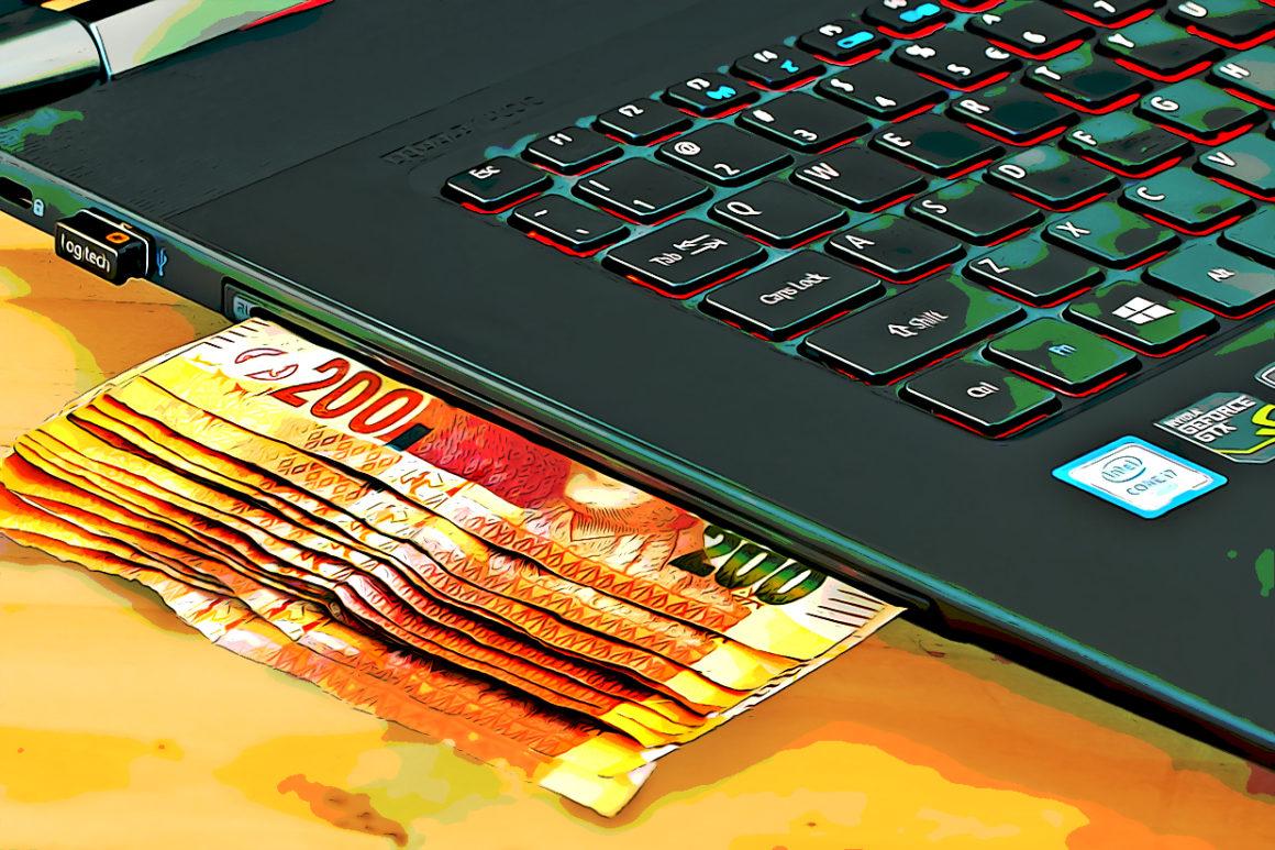 Illustration of cash entering a laptop as digital payments over take cash