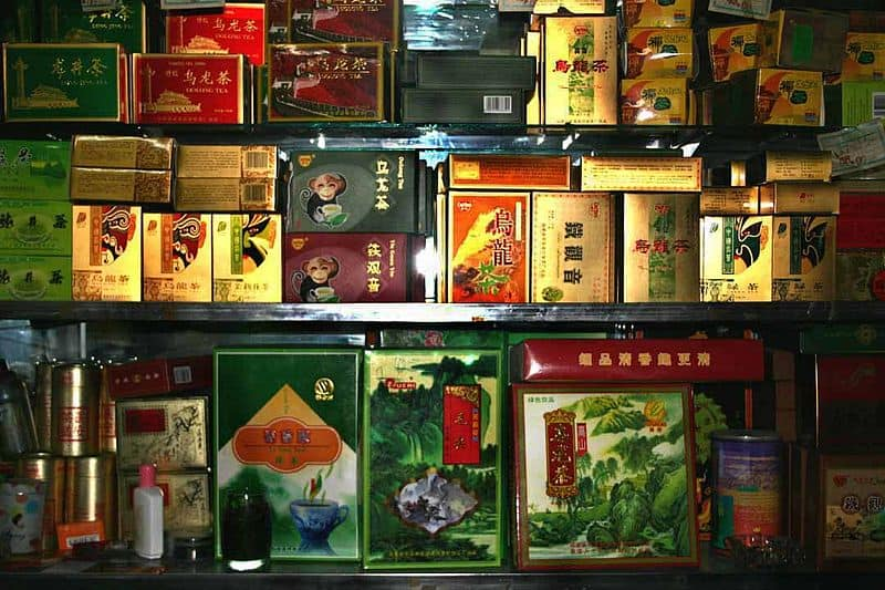Stack variety of Chinese tea boxes