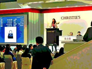 Christie's auction lady at work