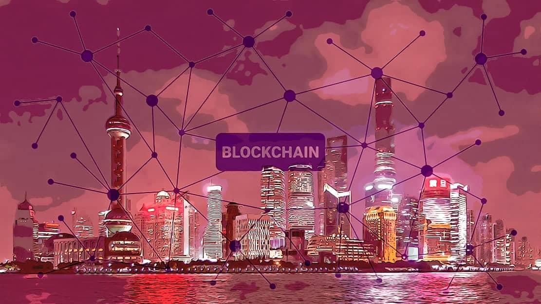Shanghai Skyline with blockchain network layered over