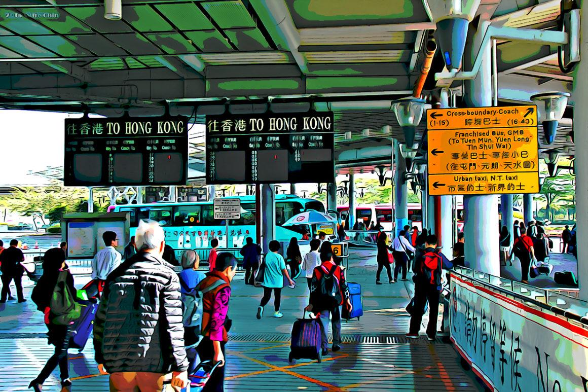 Travellers in Shenzhen Bay Checkpoint