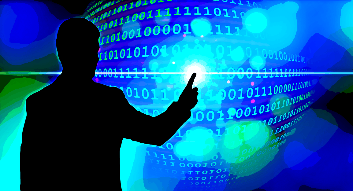 Silhouette of man touching visualized ball of data