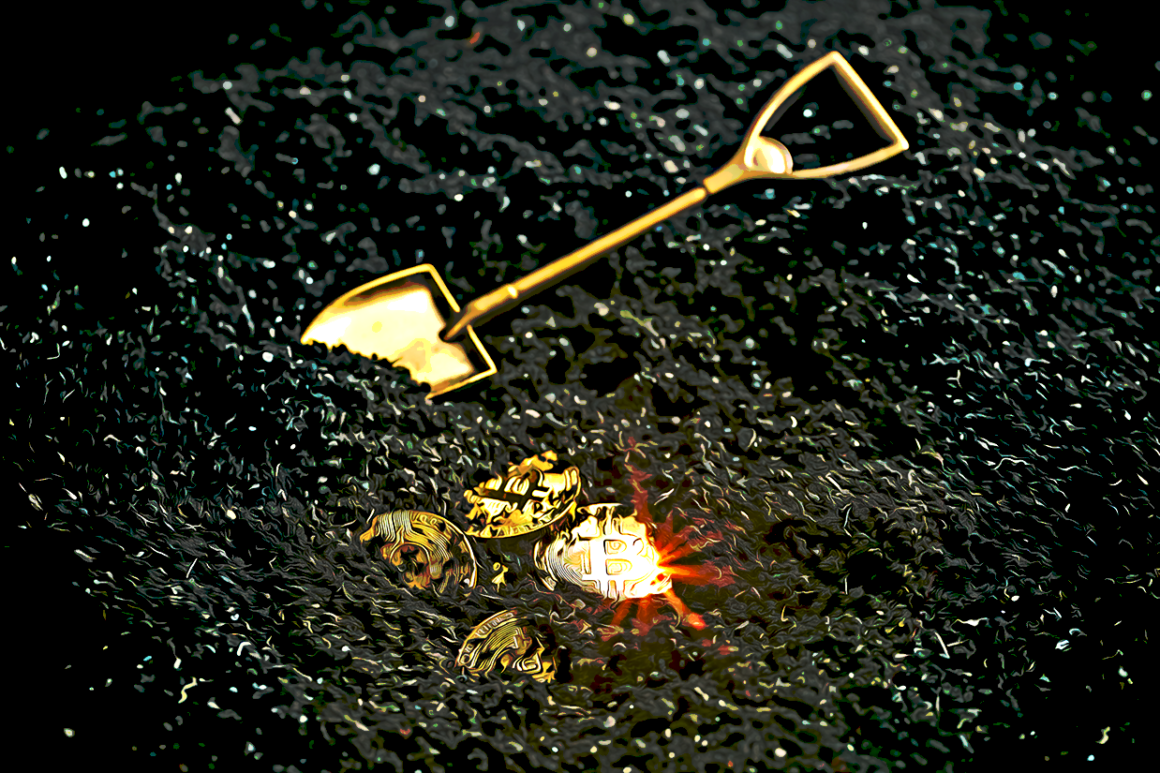 Visualization of bitcoin being unearthed with a golden shovel on its side