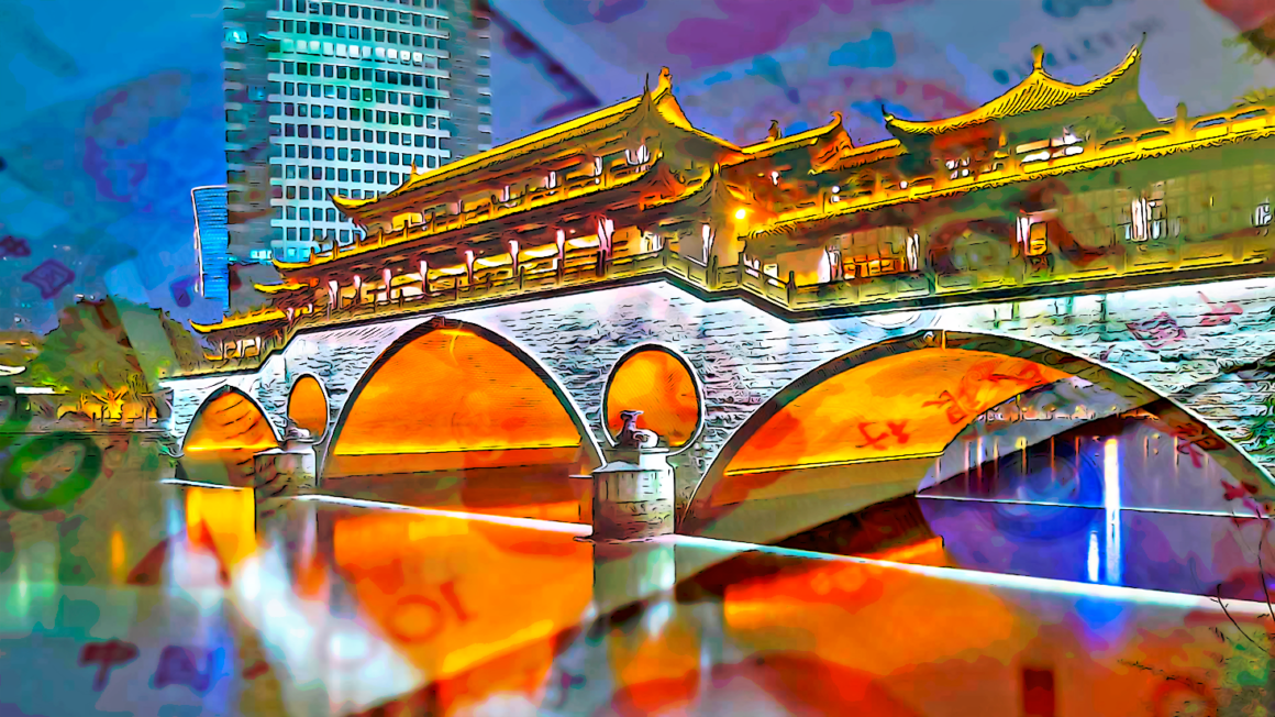Chengdu Bridge with RMB layered above it