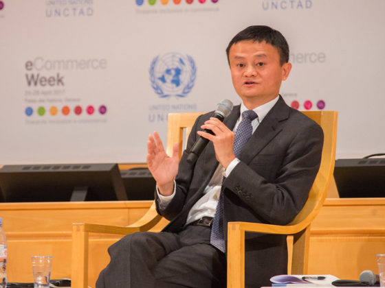 Alibaba's Ant Group leads blockchain patents. Image displays Jack Ma, Executive Chairman Alibaba Group speaking at UNCTAD eCommerce Week Conference, 25 April 2017