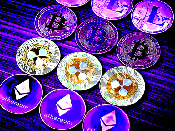 Three XRP coins lined up in a row shining bright while litecoin, bitcoin and ethereum are darkened by a purple tint