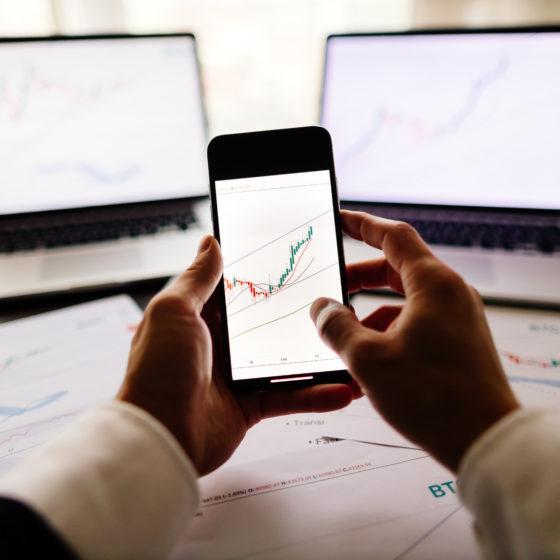 digital assets broker workplace. stock trader bitcoin data price trend graph. Financial data graph.