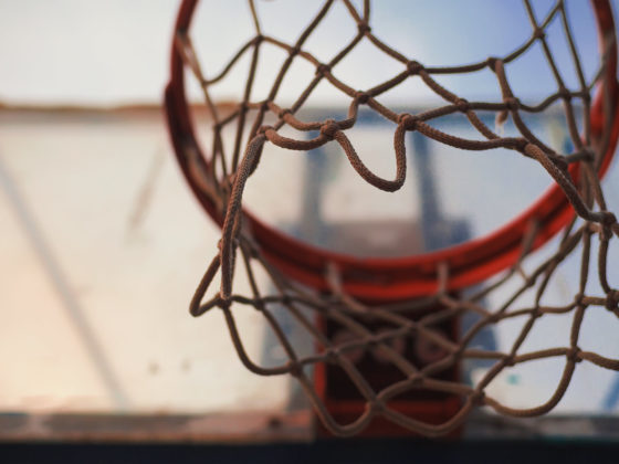 Shot from under a basketball hoop