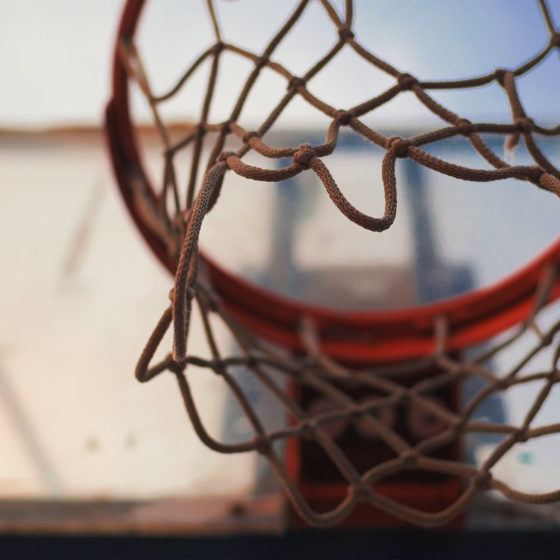 Shot from under a basketball hoop