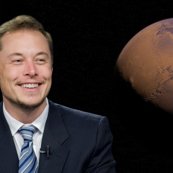 Elon Musk smiling with Mars on the background | Tesla sells 10% of its Bitcoin