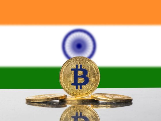 Bitcoin in front of Indian Flag