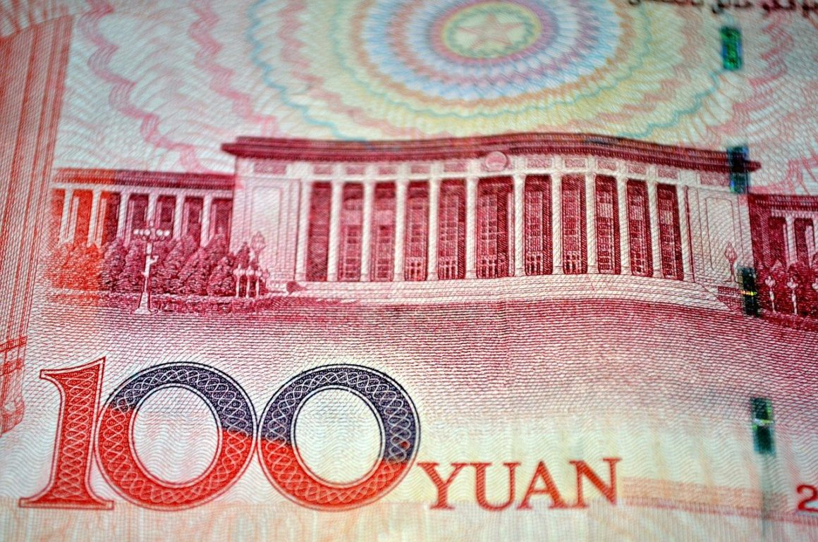 Close up of Chinese RMB. Digital yuan DCEP testing reaches a year since first pilot