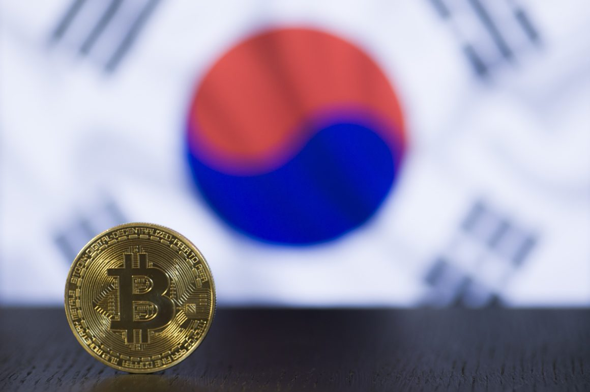 South Korea's bitcoin kimchi premium falls. Photo of a bitcoin with the South Korean flag in the background.