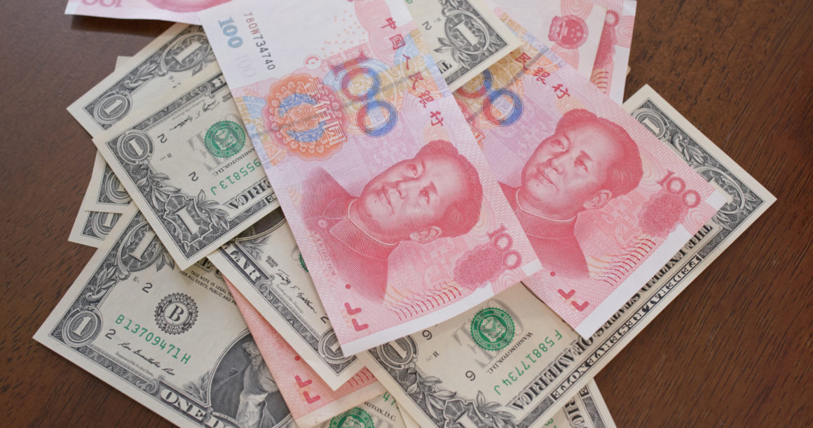 Digital yuan can challenge the US dollar   Counting chinese RMB and USD, trade war, concept