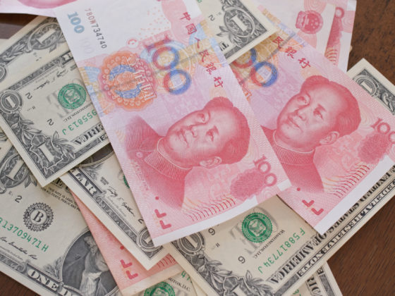 Digital yuan can challenge the US dollar | Counting chinese RMB and USD, trade war, concept