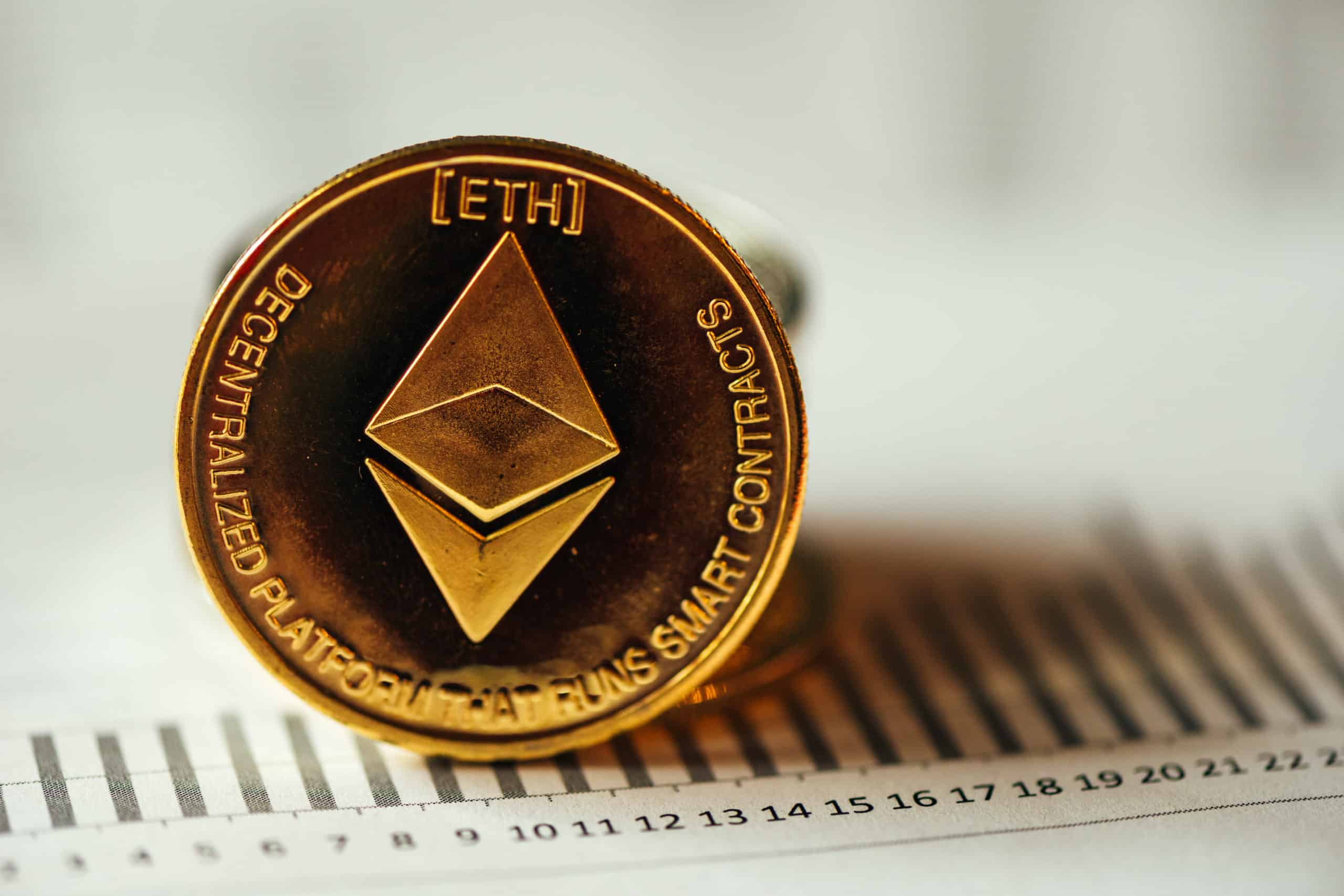 Ethereum cryptocurrency, blockchain technology decentralized currency coin, conceptual image with selective focus