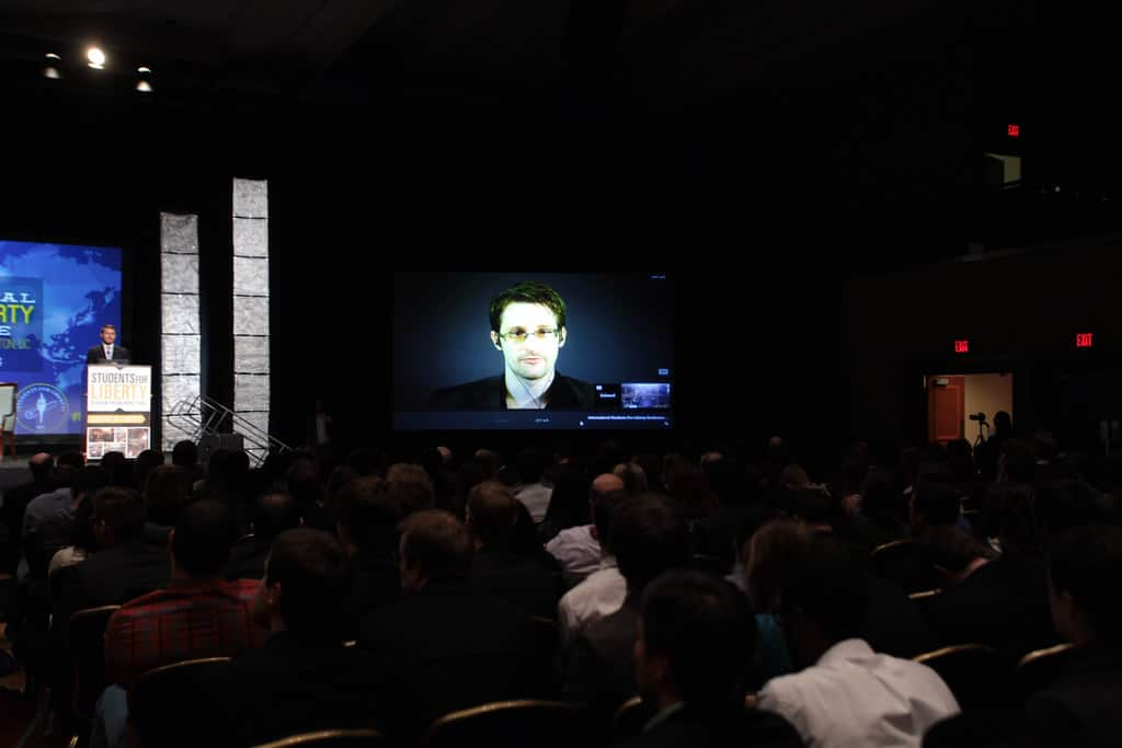 Edward Snowden in a conference