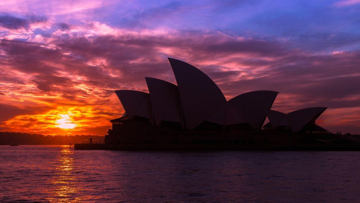Sydney Opera House in a sun set