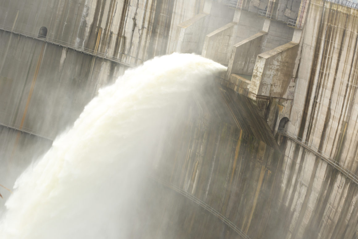 Dam discharges water in the summer time