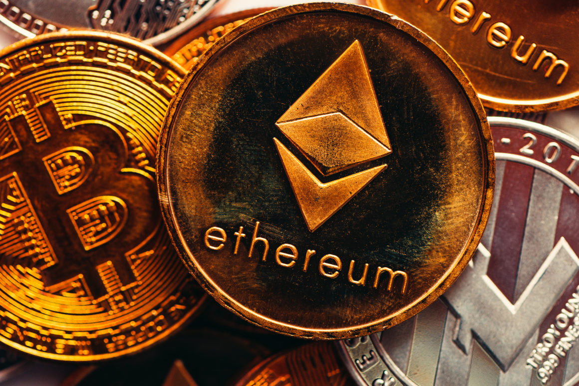 Ethereum and Bitcoin cryptocurrency coinage, macro view