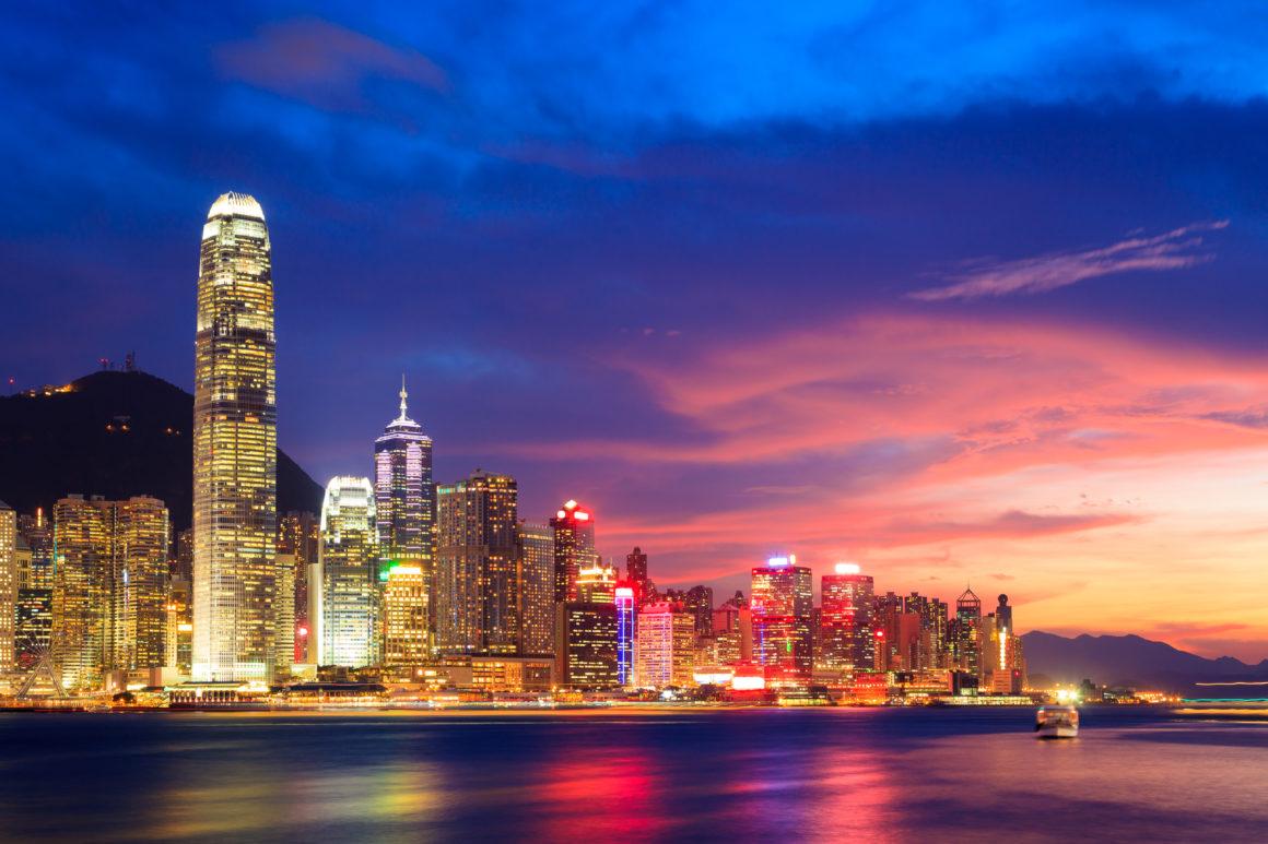 Hong Kong at dusk.