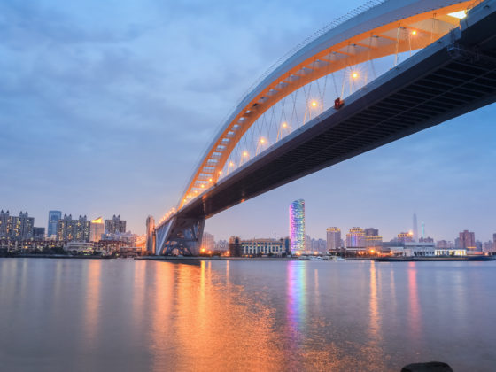 Lupu bridge in Shanghai in nightfall