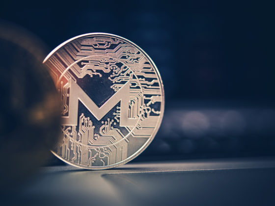 Monero Cryptocurrency Coin Close Up.