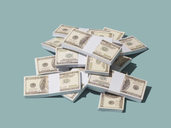 Packs of American 100-dollar bills