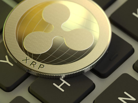 XRP coin on a keyboard