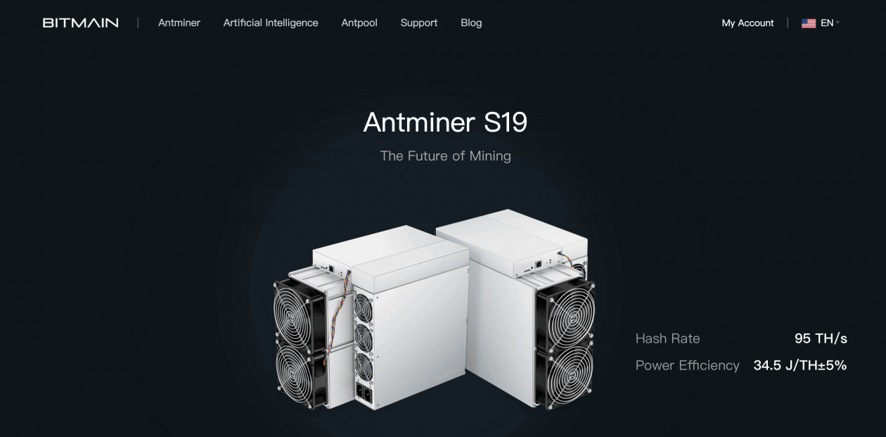 A picture of Bitmains website with a mining machine