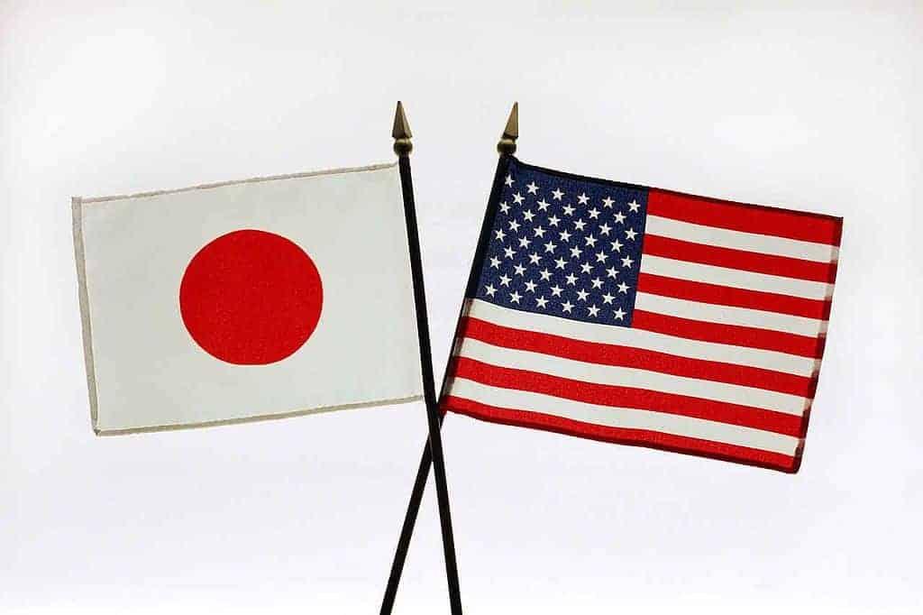Japan and US Flag