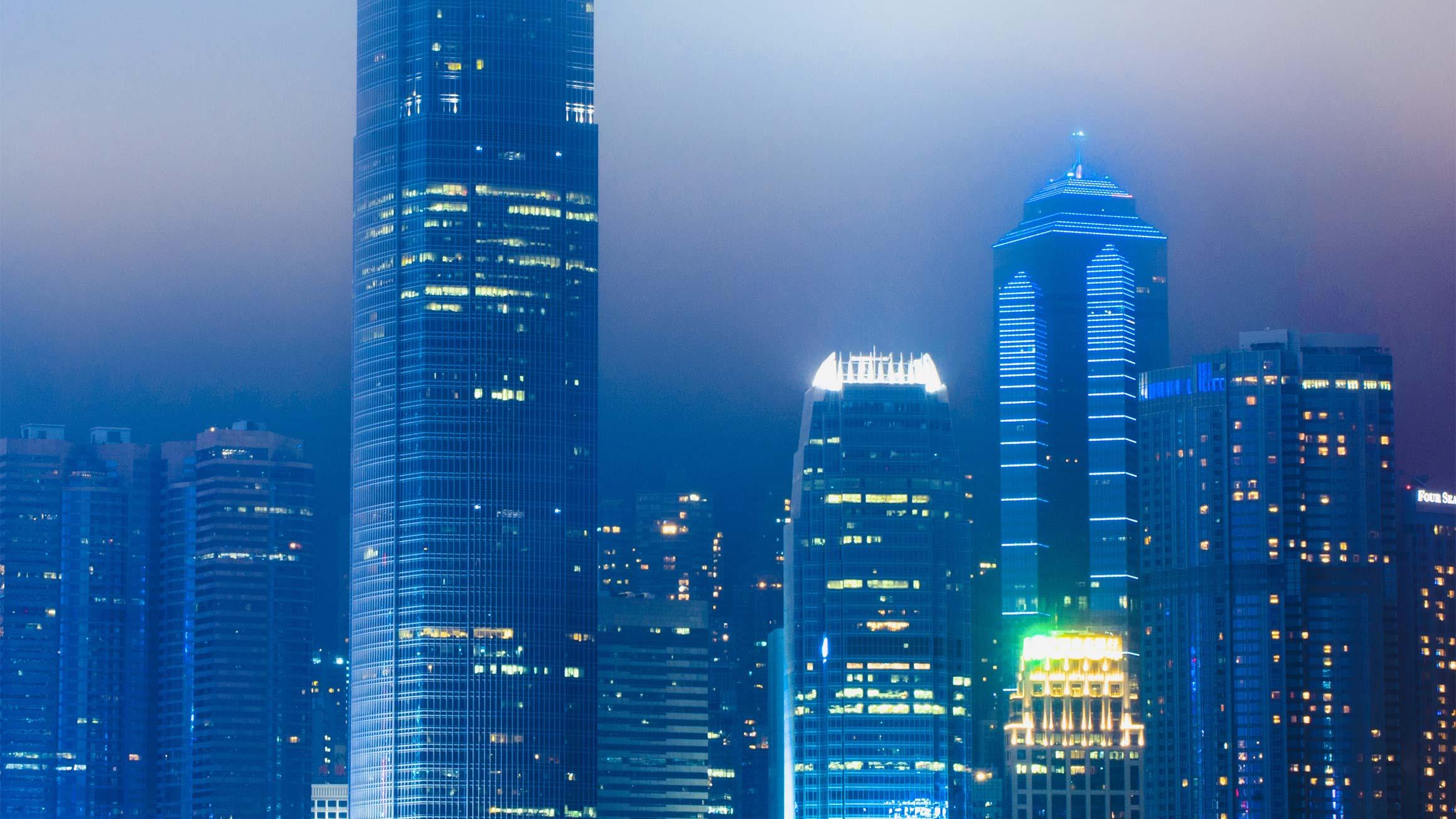 beautiful cityscape with illuminated building enveloped fog hong kong china CUT2
