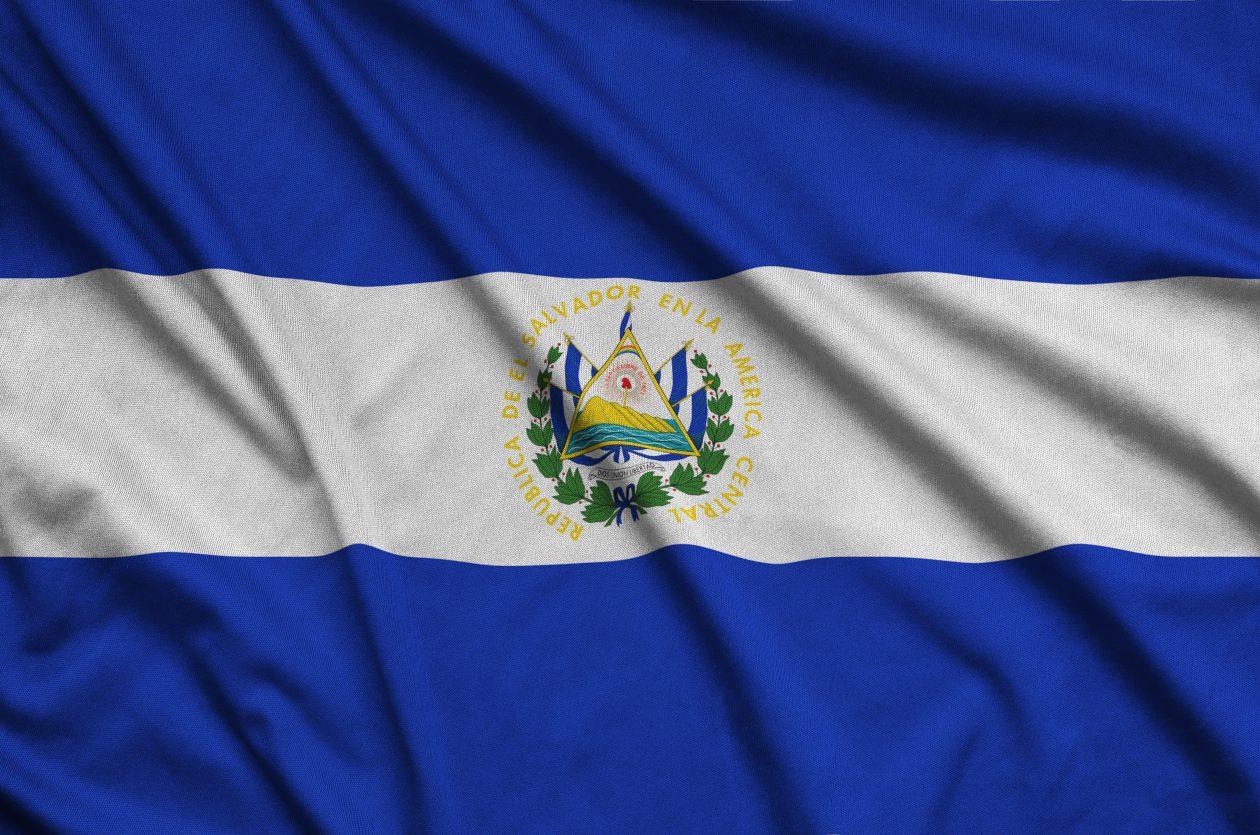 el salvador flag is depicted on a sports cloth fab Q3LPGFZ 1